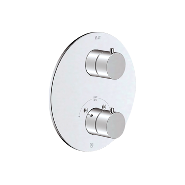 Circo trim set for thermostatic valve with 3-way diverter, shared functions