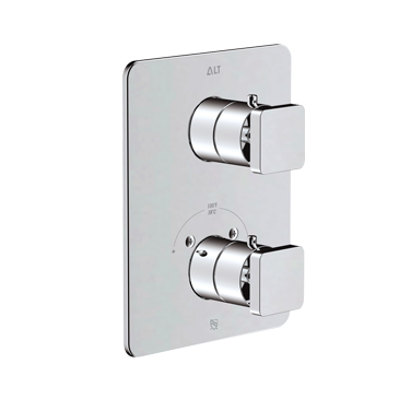 Riga trim set for thermostatic valve with 3-way diverter, shared functions
