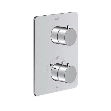 Via Dante trim set for thermostatic valve with 2-way diverter, shared functions