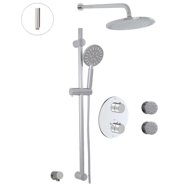 Thermostatic shower system – 3 functions/body jets